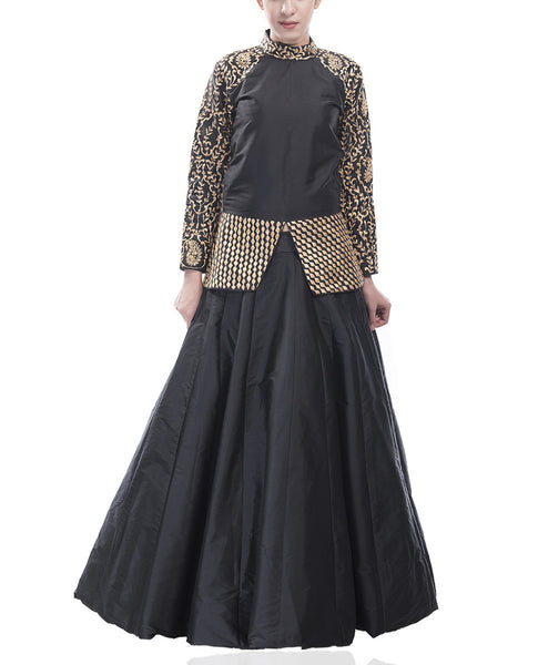 All Black Lehenga Set