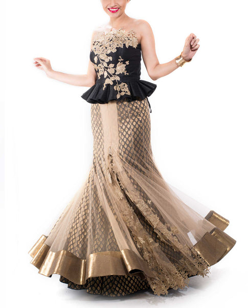 Black & Gold Fishtale Lehenga