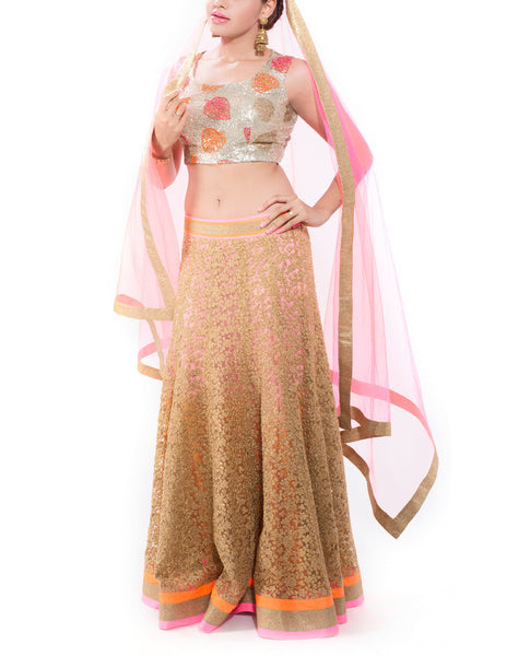 Golden and Neon Lehenga Choli