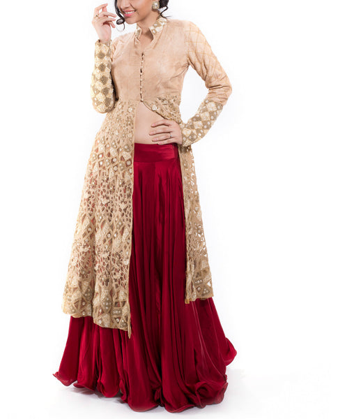 Golden Jacket with Maroon Satin Lehenga