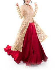 Lehenga Set - Golden Jacket With Maroon Satin Lehenga