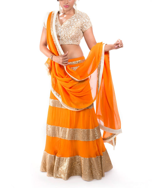 Orange & Gold Sequin Lehenga