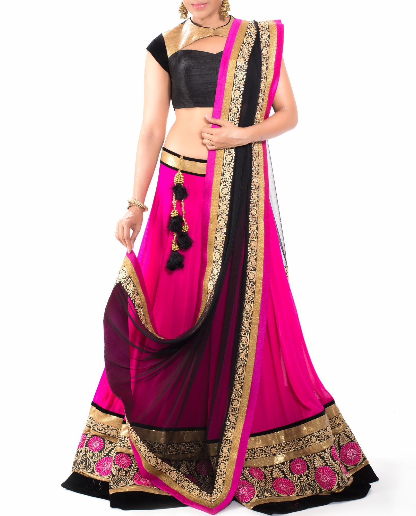 Lehenga Set - Rani Pink With Black Border Lehenga