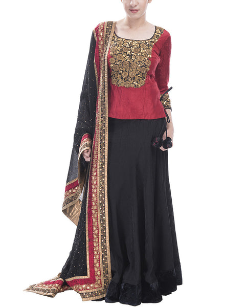 Red And Black Lehenga Set