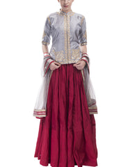 Lehenga Set - Red And Grey Lehenga Set