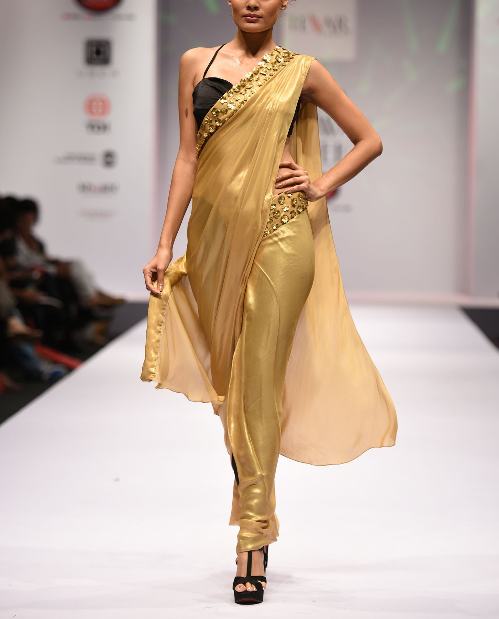 Saris - Golden Saree And Bralette
