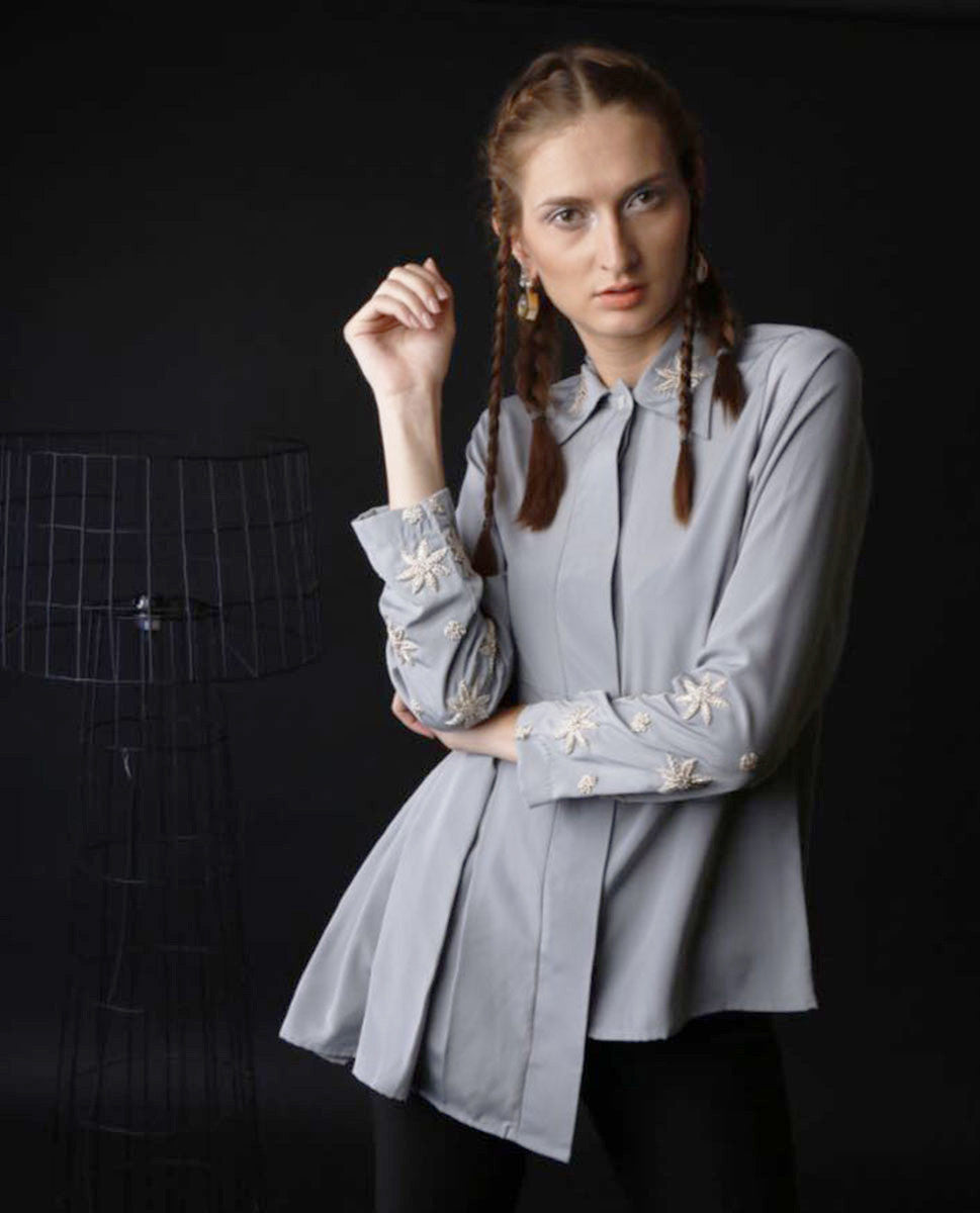 Shirts - Asymmetrical Pleated Shirt