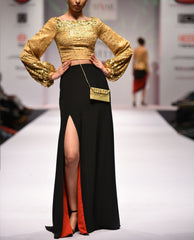 Skirts - Crepe Silk Black Skirt, Golden Gota Embroidered Crop Top