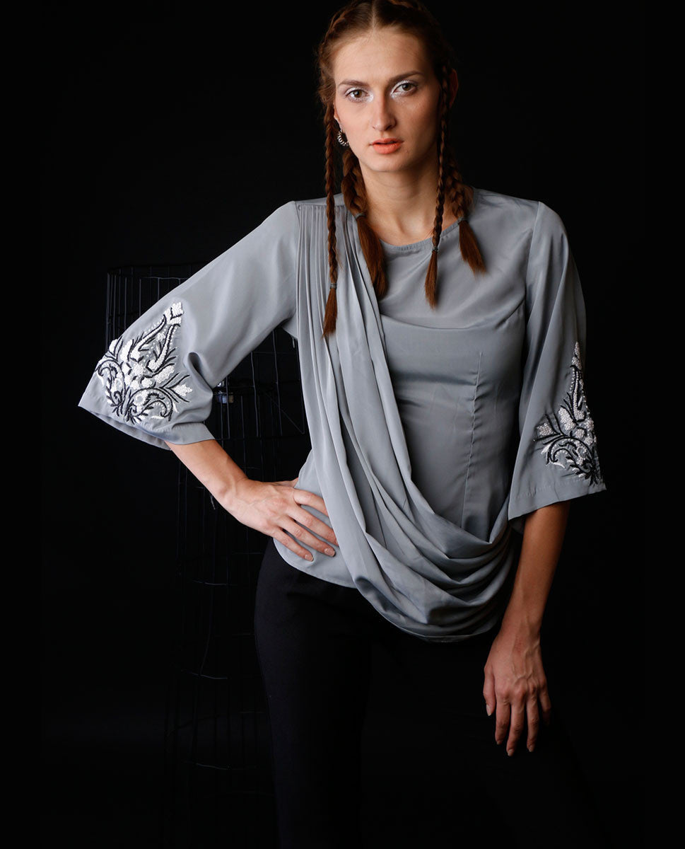 Tops - Grey Drape Top