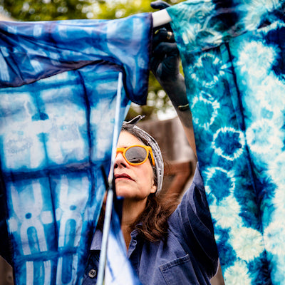 See fantastic creations by indigo dyeing and shibori students from last weekend