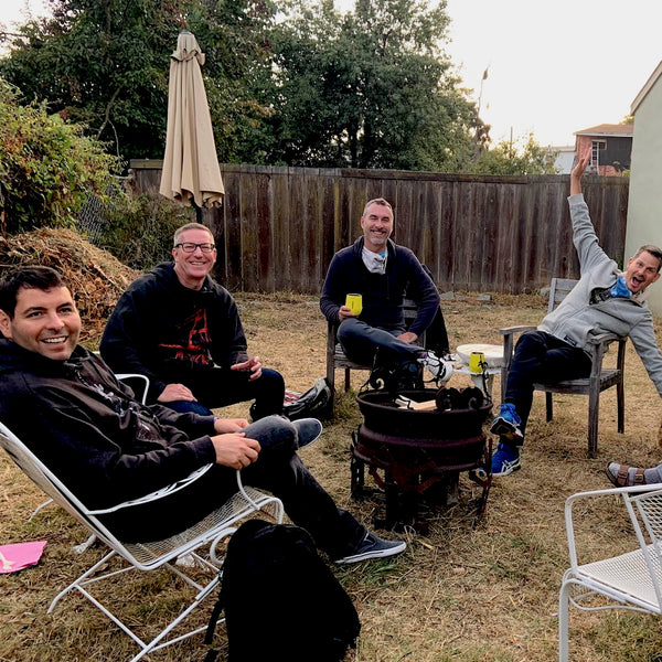 Friends around the fire pit