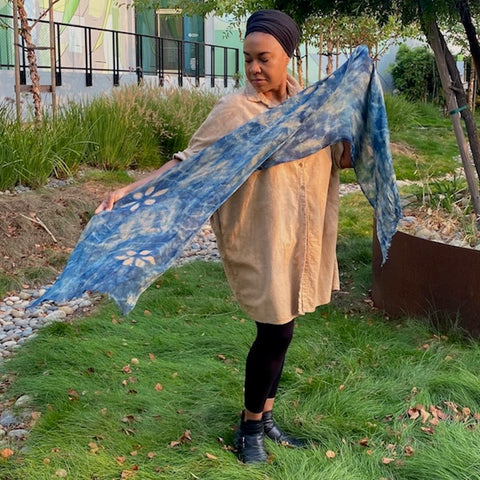 Beautiful linen scarf paired with organic cotton smock