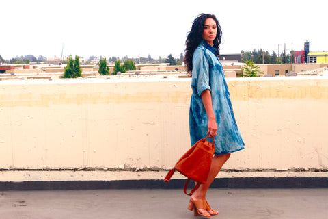 Modern shibori journey woman in blue smock