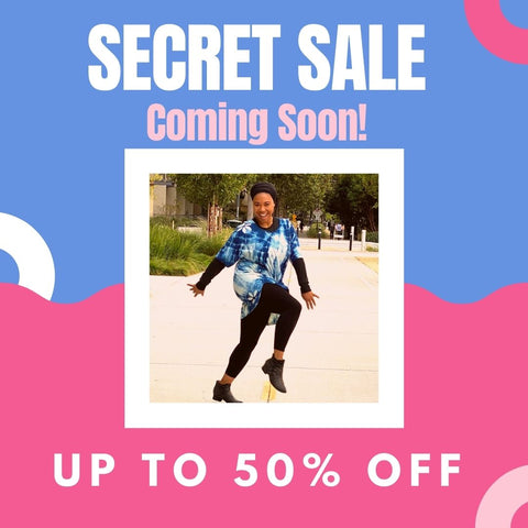 Secret Sale announcement up to 50% off