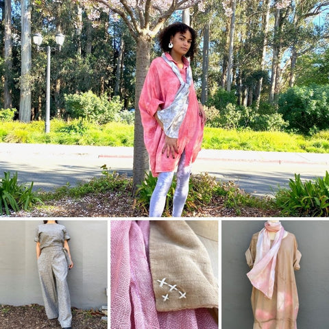 Collage of 2021. Photo shoot in Berkeley, hemp cotton pants suit, detail of embroidery and new colors