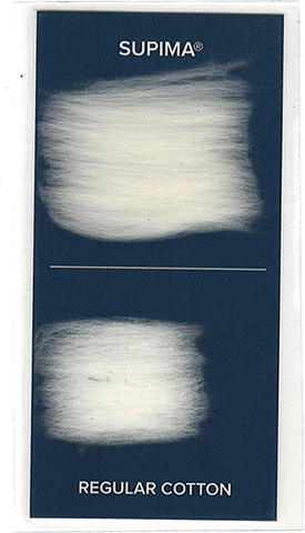 A photo showing the difference in Supima® cotton fiber length vs. standard cotton fiber length.
