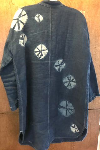 Custom shibori upcycled linen jacket