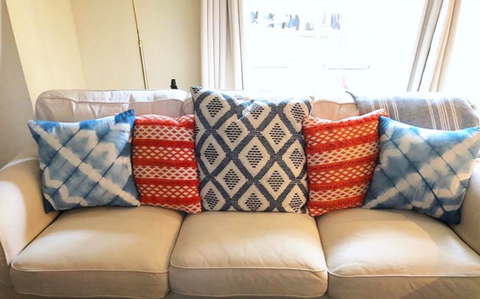 Shibori pillows on a student's couch
