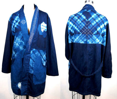 I upcycled this jacket from old army coats and shibori scraps