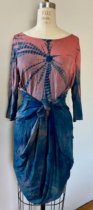 Coral Blue Shibori Knit Dress | For Women | Ripple | Med, Large Only
