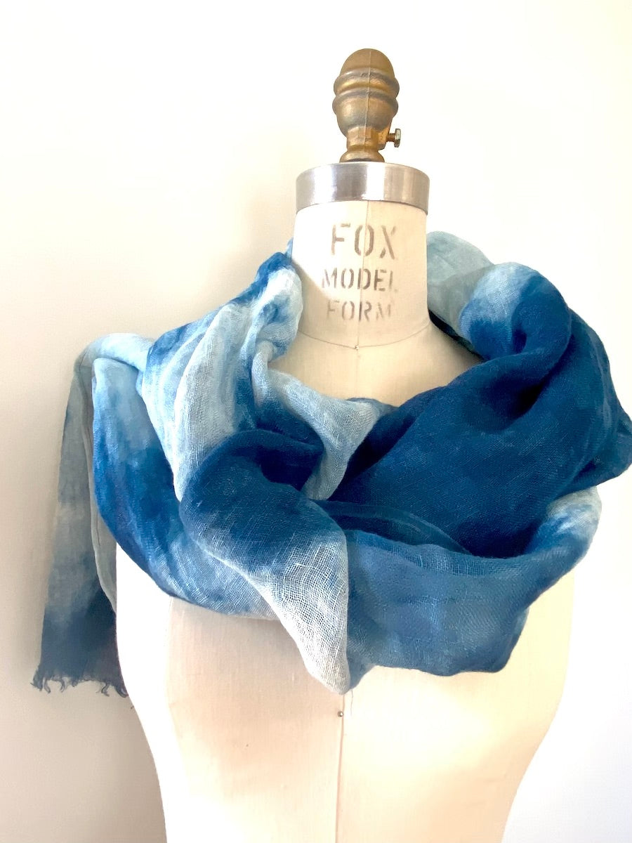 Indigo Blue Linen Scarf | For Men & Women | Stripe