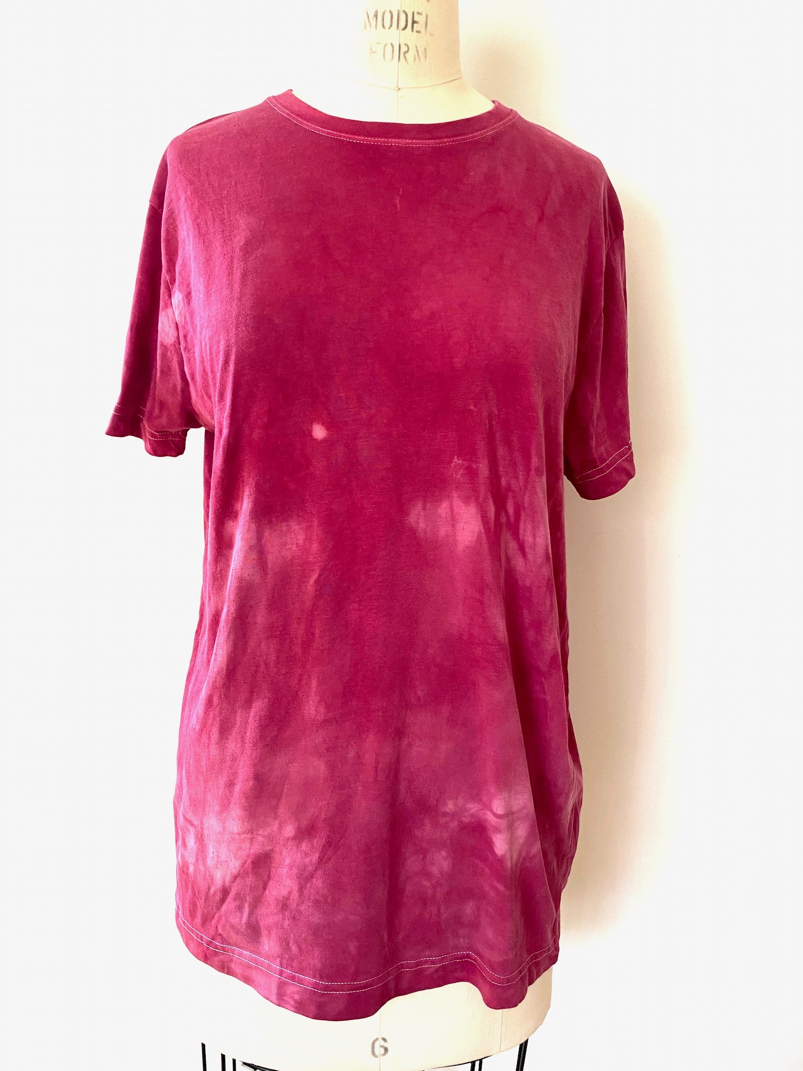 T shirt | For Men & Women | California Grown Cotton | Ultra Soft | Fuchsia Hand Dyed Solid - Modern Shibori