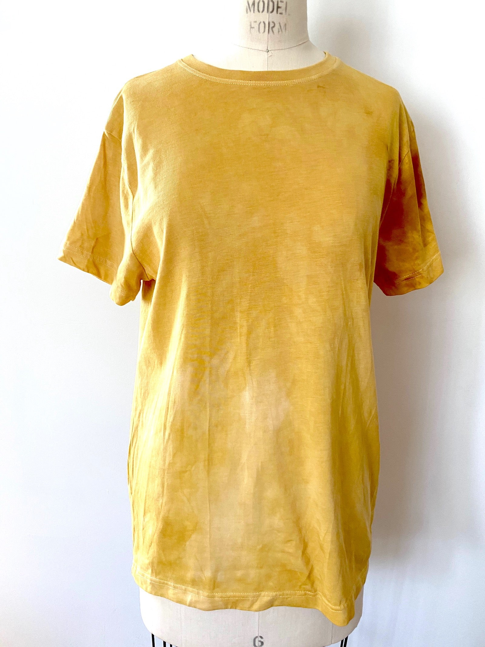 T shirt | For Men & Women | California Grown Cotton | Ultra Soft | Yellow Hand Dyed Solid - Modern Shibori