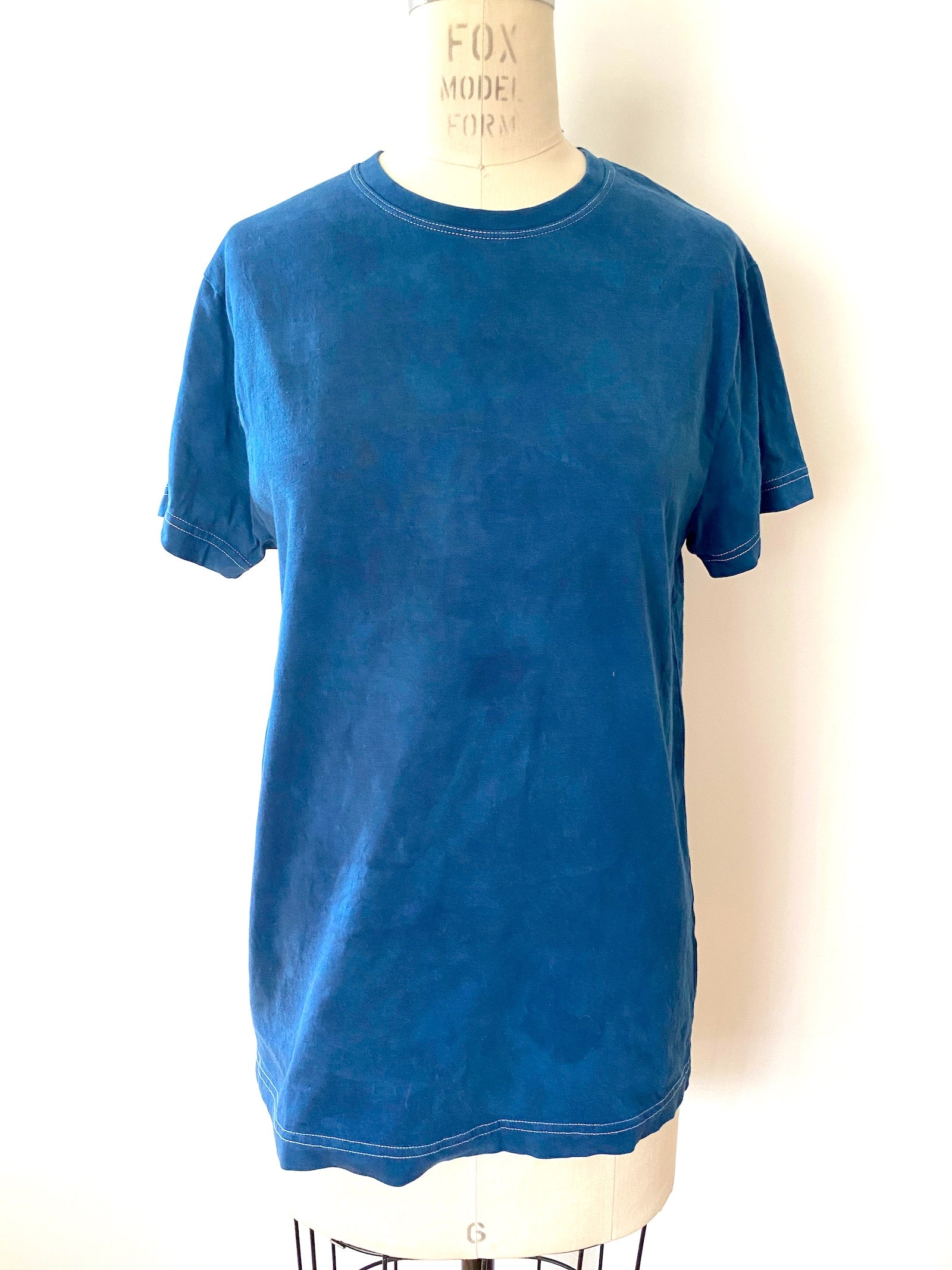 T shirt | For Men & Women | California Grown Cotton | Ultra Soft | Blue Hand Dyed Solid - Modern Shibori