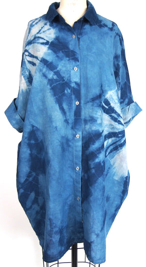 Organic Lightweight Cotton or Linen Smock Top with Pockets | For Women | Blue Eclipse - Modern Shibori