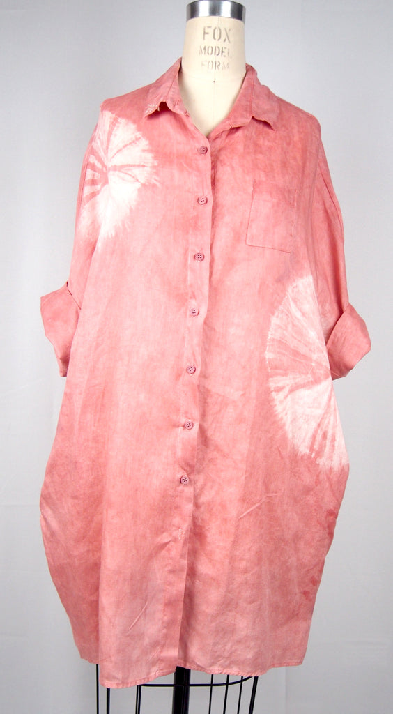 Organic Linen Smock - Coral Eclipse