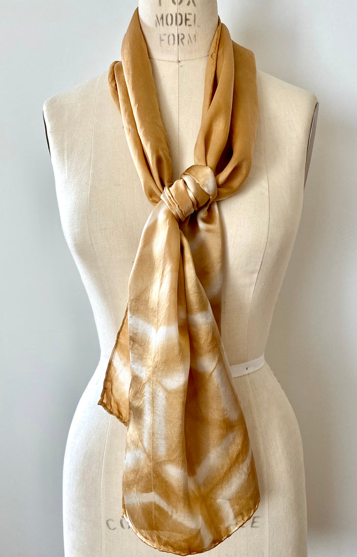 Scarf // Silk Satin Scarf Walnut Hexagon