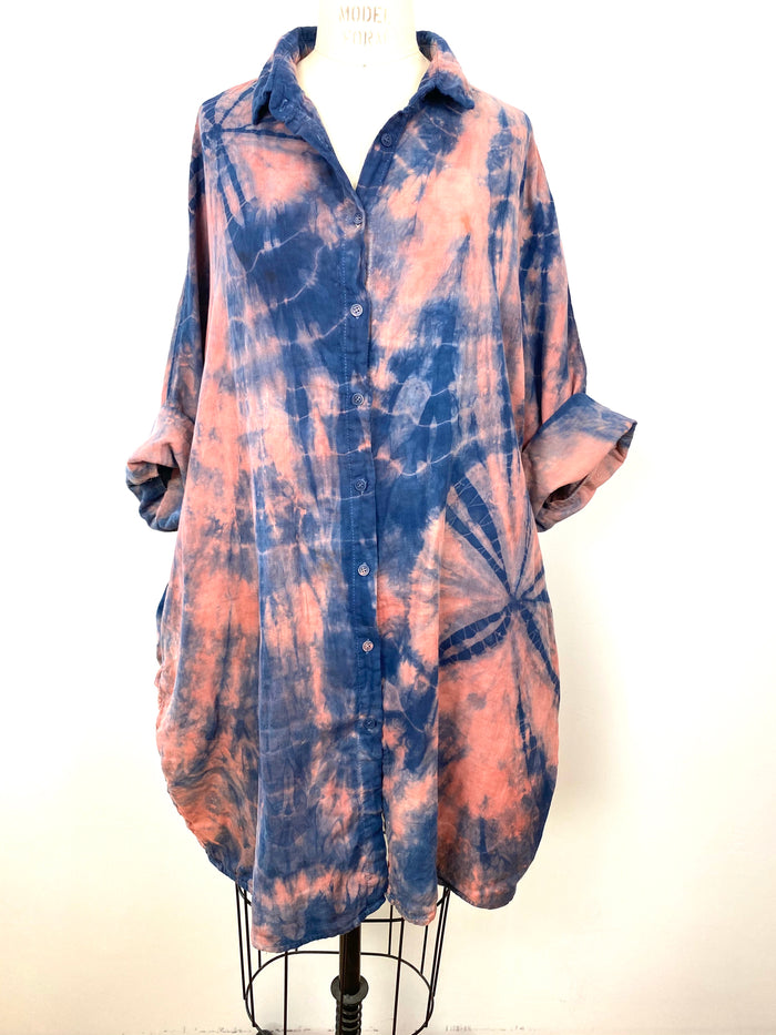 Beautiful Indigo Smock Tunic Top