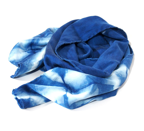 Indigo Silk Charmeuse Scarf - Hexagon