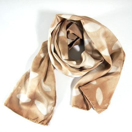 Scarf // Brown Silk Charmeuse Scarf - Leaf