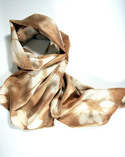 Brown Silk Charmeuse Scarf - Fleur - Natural Dyes