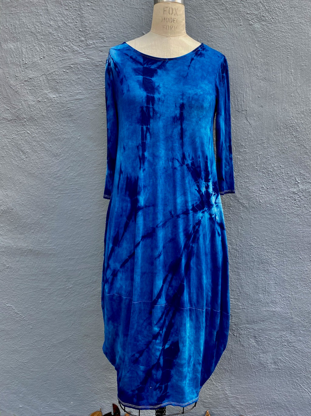 Indigo Blue Shibori Knit Dress | For Women | Willow | Small, Med, 2XL, 3XL Only