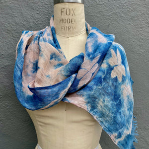 Pink Blue Linen Scarf | For Men & Women | Sakura