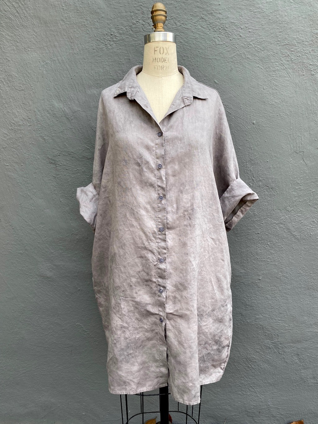Grey | Organic Lightweight Cotton or Linen Smock Top with Pockets | For Women - Modern Shibori