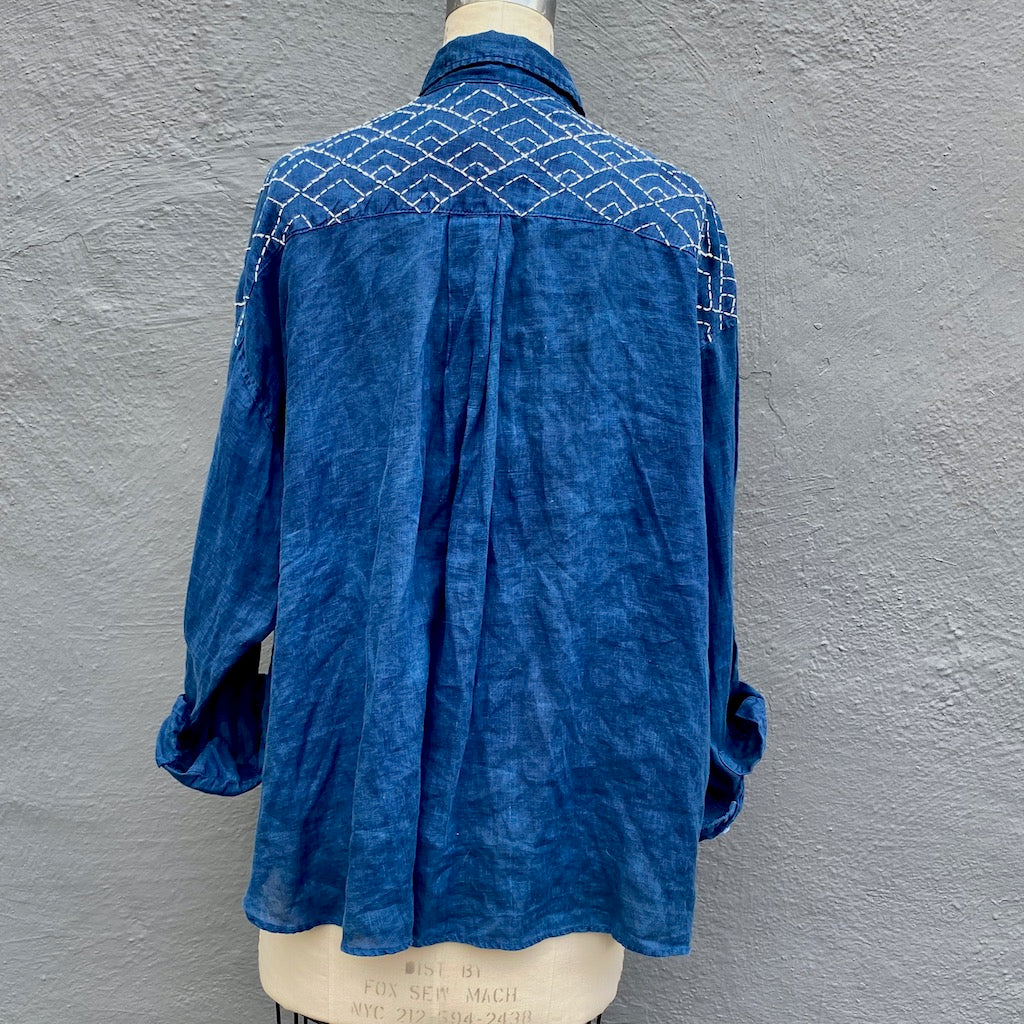 Indigo Blue Linen Shirt With Diamond Sashiko Embroidery | For Women - Large Only