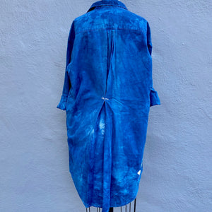 Indigo Blue Midweight Organic Cotton/Linen Shirt Dress in Large