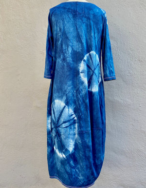 Indigo Blue Shibori Knit Dress | For Women | Eclipse - Modern Shibori
