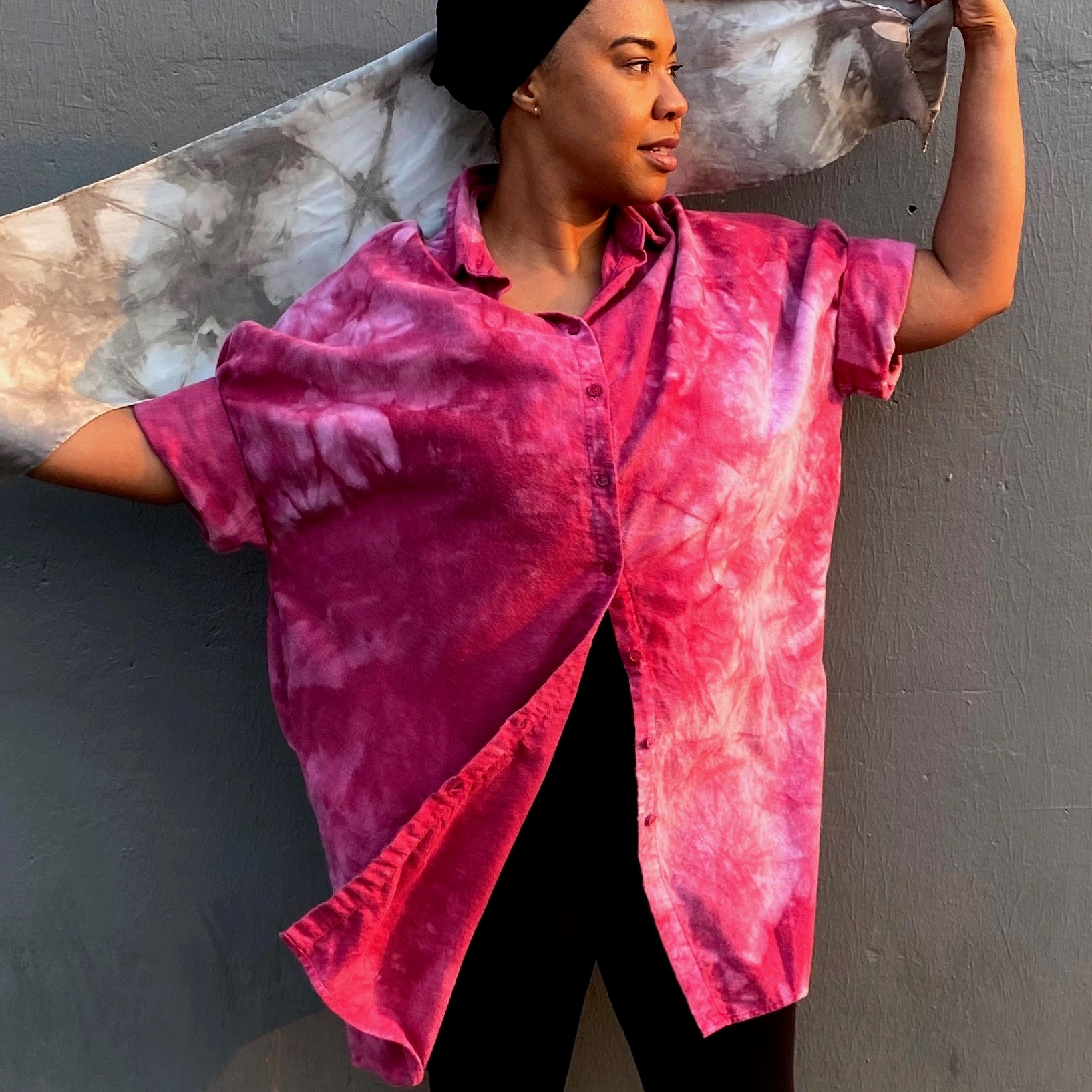 Organic Cozy Cotton Flannel Smock Top with Pockets | For Women | Fuchsia- Modern Shibori