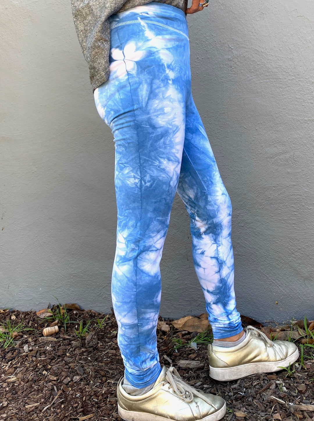 Indigo Blue Sakura High Waisted Legging to 3XL | For Women - Modern Shibori