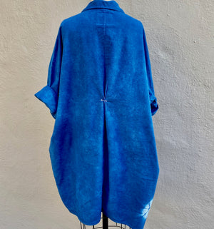 Indigo Blue Organic Cozy Cotton Flannel Smock Top with Pockets | For Women | Sand Dollars - Modern Shibori