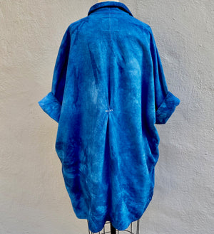 Indigo Blue | Organic Cozy Cotton Flannel Smock Top with Pockets | For Women | Willow - Modern Shibori
