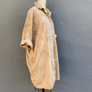 Organic Cozy Cotton Flannel Smock Top with Pockets | For Women | Walnut Tan Eclipse - Modern Shibori