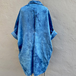 Organic Lightweight Cotton Smock Top with Pockets | For Women | Blue Willow - Modern Shibori