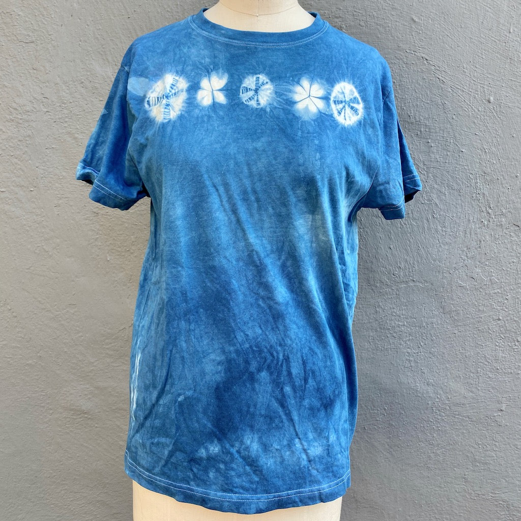 T shirt | For Men & Women | California Grown Cotton | Ultra Soft | Blue Celebrate - Modern Shibori