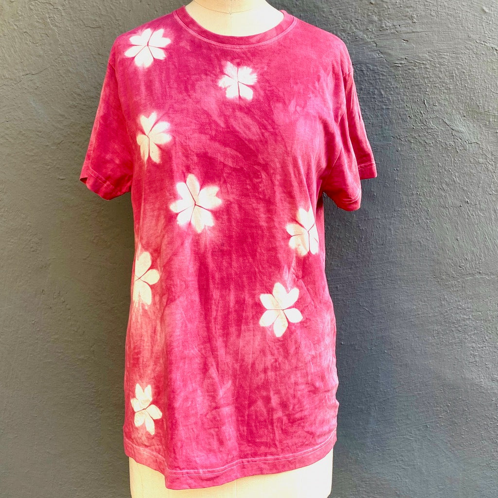 T shirt | For Men & Women | California Grown Cotton | Ultra Soft | Fuchsia Laughter - Modern Shibori