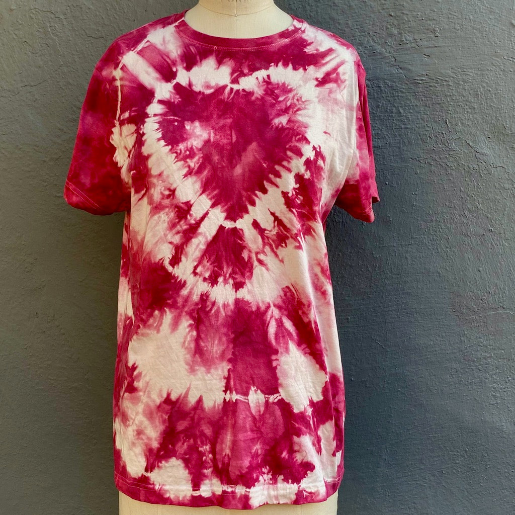 Fuchsia | T shirt | For Men & Women | California Grown Cotton | Ultra Soft | Love - Modern Shibori